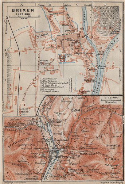 Associate Product BRIXEN / BRESSANONE town city plan & environs. Südtirol Italy Italia 1911 map