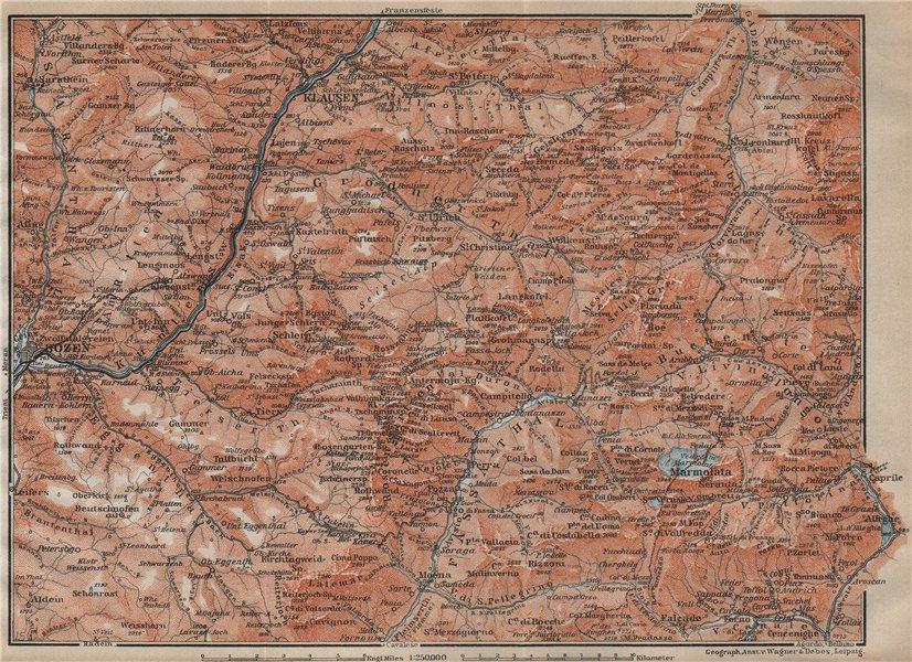 Associate Product VAL GARDENA/GRÖDEN. Bozen/Bolzano Schlern-Rosengarten Südtirol Klausen 1911 map