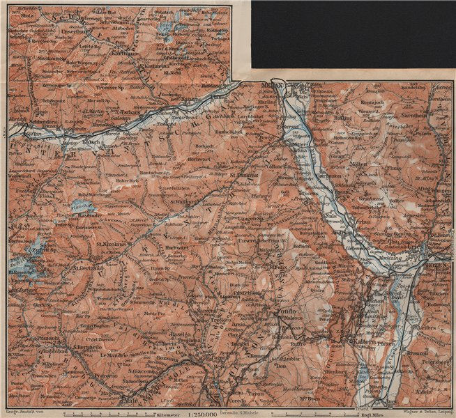 Associate Product VINTSCHGAU ADIGE/ETSCH Ultental valleys. Bozen/Bolzano Merano Südtirol 1911 map