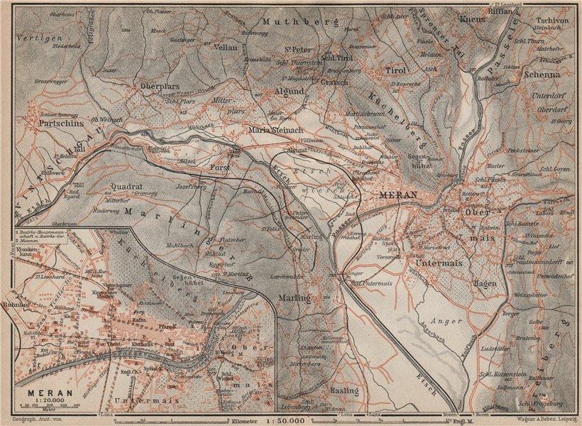 Associate Product MERANO / MERAN environs Scena Plars di Sopra Marlengo Lagundo Parcines 1911 map