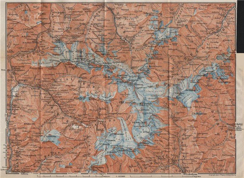 Associate Product ORTLER ALPS. Ortler Alpen Ortles-Cevedale Bormio Solda Santa Caterina 1911 map