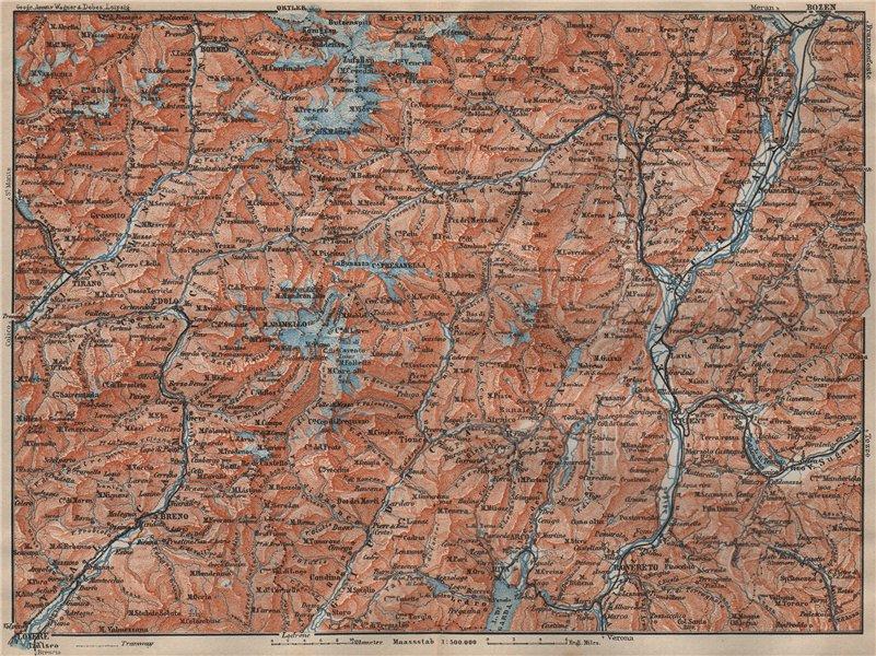 Associate Product TRENTINO-ALTO ADIGE. Bolzano Bormio S. Caterina Aprica Campiglio mappa 1911