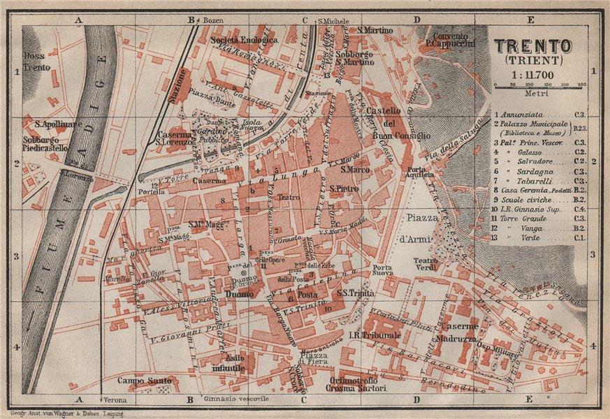 Associate Product TRENTO (TRIENT) town city plan piano urbanistico. Italy Italia mappa 1911