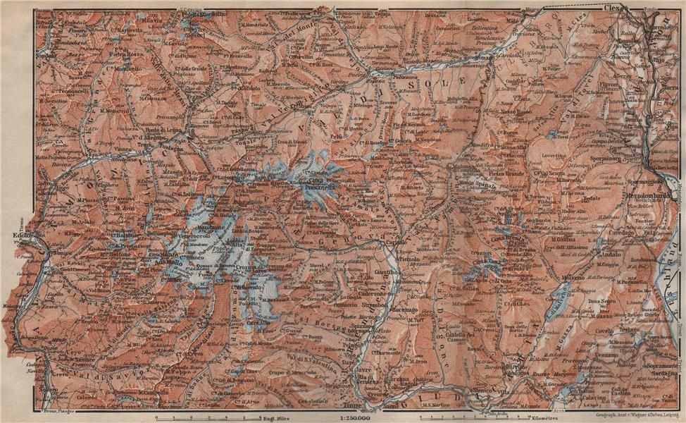 Associate Product ADAMELLO BRENTA DOLOMITI. Pinzolo Ponte di Legno Madonna di Campiglio 1911 map