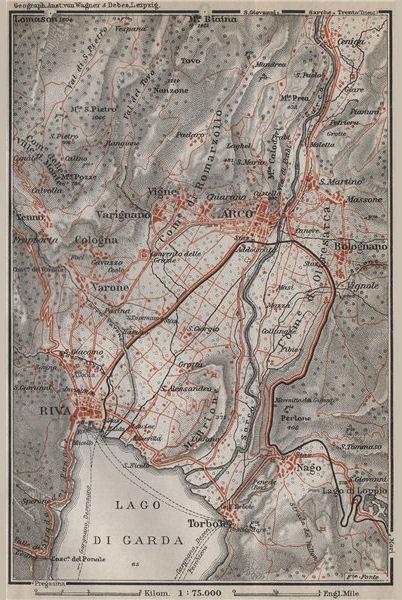 Associate Product ARCO & RIVA DEL GARDA environs. Trento, Italy Italia. Bolognano mappa 1911