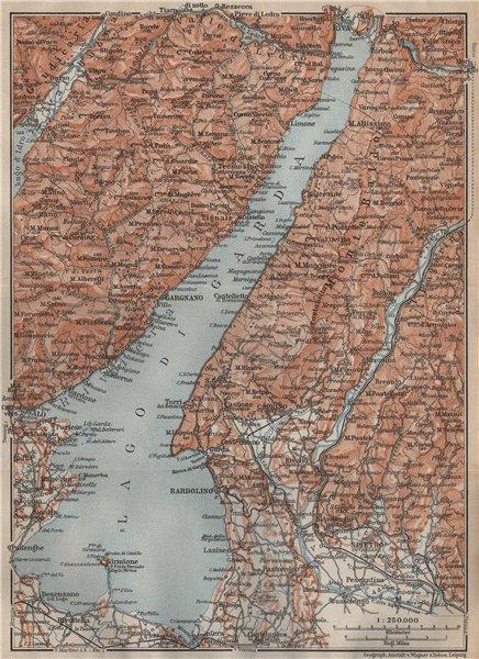Associate Product LAGO DI/LAKE GUARDA. Riva Salo Gargnano Bardolino. Topo-map. Italy 1911