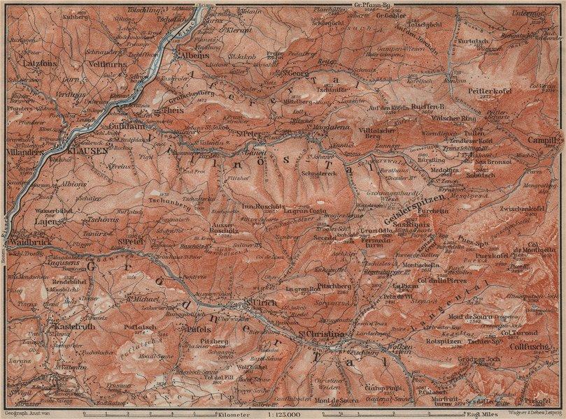 Associate Product VAL GARDENA/GRÖDEN Klausen/Chiusa St Ulrich S Christina Selva Südtirol 1911 map
