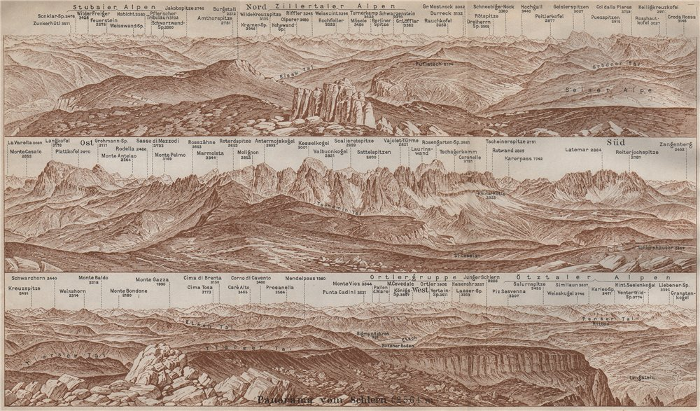 Associate Product PANORAMA from/vom SCHLERN/SCILIAR. Südtirol Alto Adige Italy Italia 1911 map