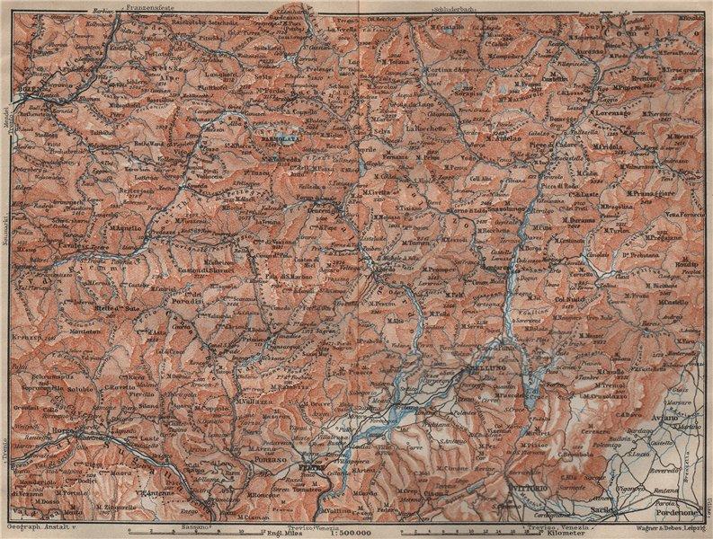 Associate Product DOLOMITE ALPS DOLOMITI Bolzano Belluno Val Gardena Cortina d'Ampezzo 1911 map