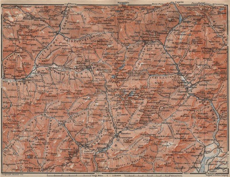 DOLOMITI. Primiero Paneveggio. San Pellegrino San Martin di Castrozza 1911 map