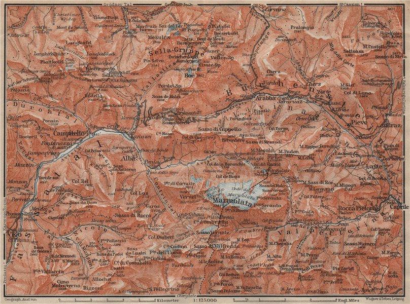 Associate Product LADIN VALLEYS. Marmolada Arabba/Rèba Fascia Fodóm Mëisules Ciampedèl 1911 map