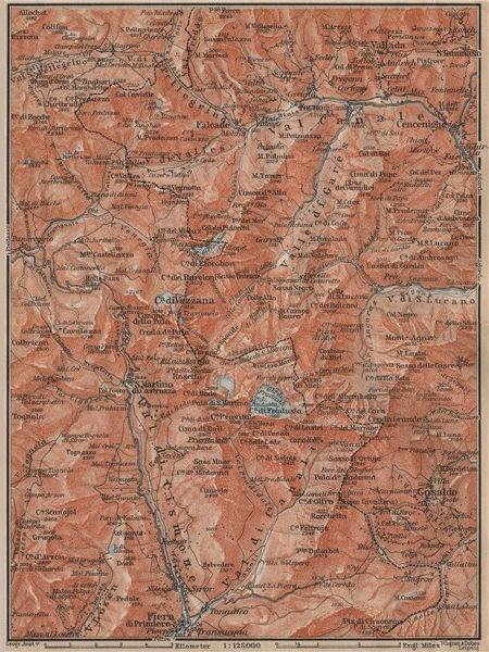 Associate Product SAN MARTINO DI CASTROZZA. Paneveggio Trentino Fiero di Primero Gosaldo 1911 map