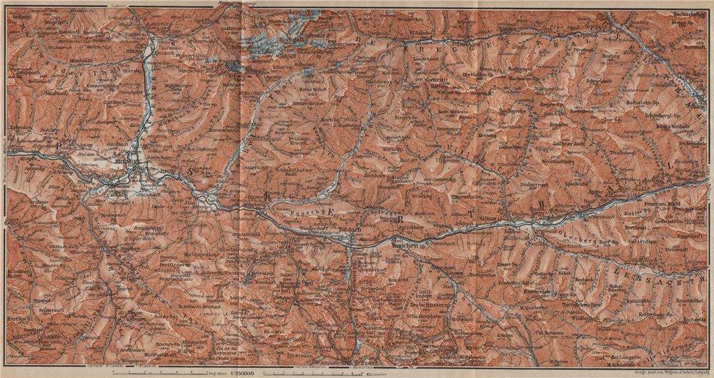 PUSTERTAL Bruneck Fanes-Sennes-Braies Tre Cime Rieserferner-Ahrn Sesto 1911 map