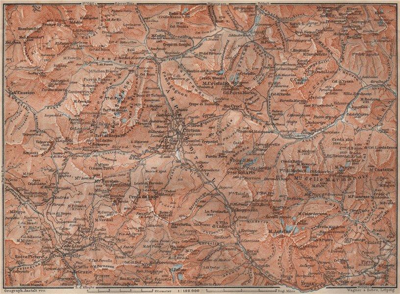 Associate Product CORTINA D'AMPEZZO valley. Dolomiti Veneto Tre Cime Fanes-Sennes-Braies 1911 map