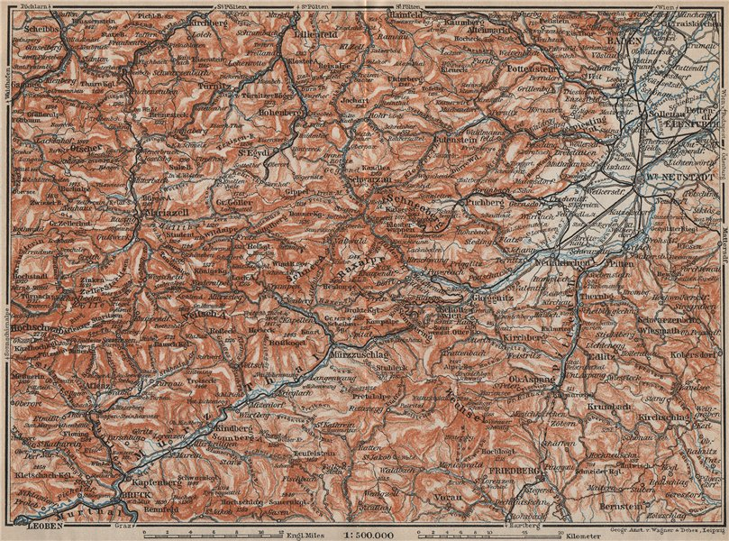 Associate Product SEMMERING & MARIAZELL environs. Mürztal Styria Baden bei Wien Austria 1911 map