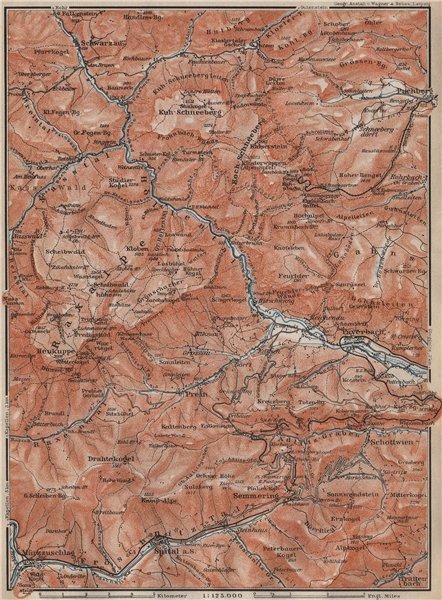 Associate Product LOWER AUSTRIA. Schwarza (Leitha) river. Semmering Schneeberg Raxalpe 1911 map