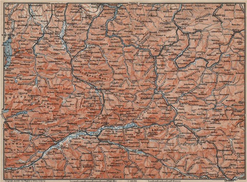 Associate Product STYRIAN & AUSTRIAN ALPS. ENNSTAL. Bad Aussee Liezen Steyr. Austria 1911 map