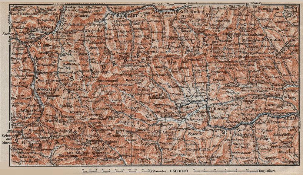 Associate Product NIEDERE TAUERN & LUNGAU. Bad Gastein Wagrain Obertauern Schladming 1911 map