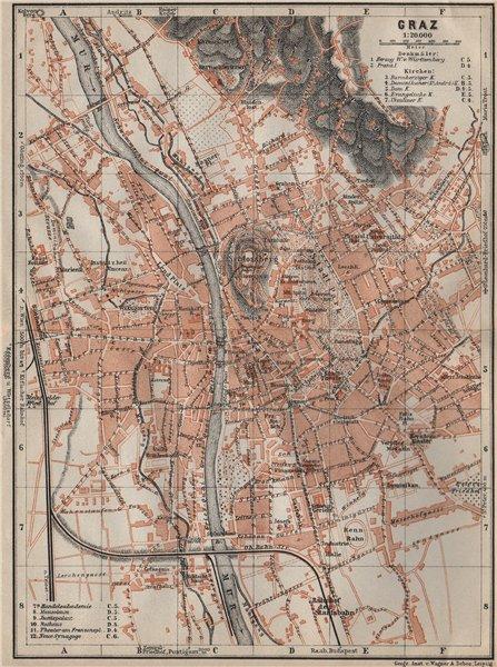 Associate Product GRAZ (GRATZ) town city plan stadtplan. Austria Österreich karte 1911 old map