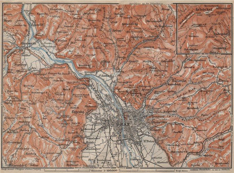 Associate Product GRAZ environs. Gratwein. Hitzendorf. Austria Österreich karte 1911 old map