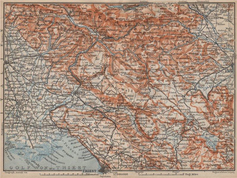 Associate Product SLOVENIA. Kunstenland Slovenia Julian Alps Julijske Alpe Trieste karta 1911 map