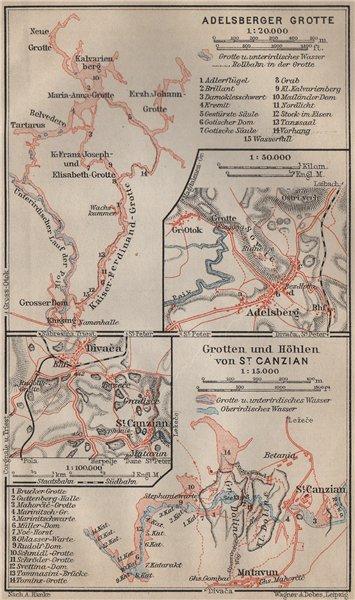 Associate Product POSTOJNA & SKOCJAN CAVES. Adelsberger San Canziano Grotte. Slovenia 1911 map