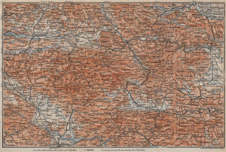 KARAWANKEN & SANNTHALER ALPEN. Klagenfurt Ljubljana Kranj. Carinthia 1911 map
