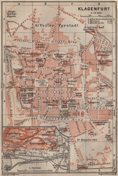 Associate Product KLAGENFURT am Wörthersee town city plan stadtplan. Celovec. Österreich 1911 map