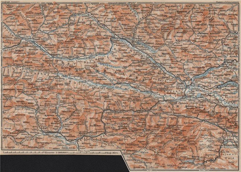 Associate Product CARINTHIAN ALPS Lienz Villach Triglav Lake Bled Austria Italy Slovenia 1911 map