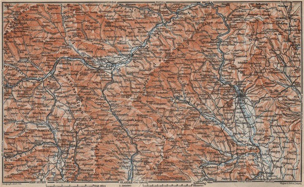 Associate Product STYRIAN & CARINTHIAN ALPS. Murau Graz Murtal Leoben Wolfsburg. Austria 1911 map
