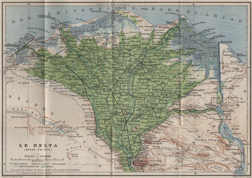 Associate Product THE NILE DELTA. LOWER EGYPT. BASSE-ÉGYPTE. BAEDEKER 1914 old antique map chart