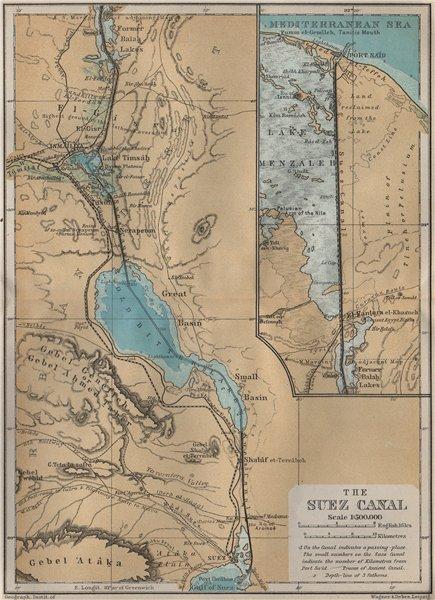 Associate Product THE SUEZ CANAL. Port said. Topo-map. Egypt. BAEDEKER 1914 old antique