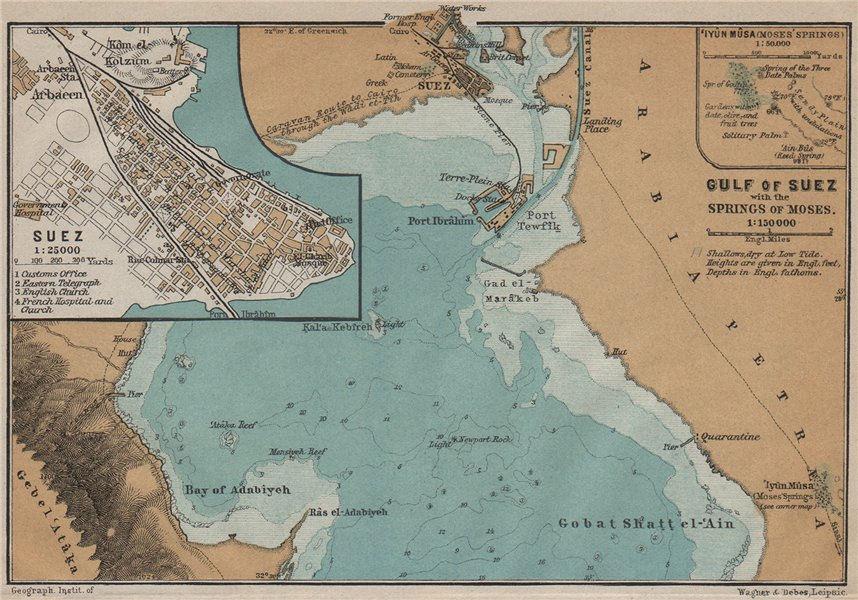 Associate Product GULF OF SUEZ & SUEZ town city plan. Moses' springs / Oyun Musa. Egypt 1914 map