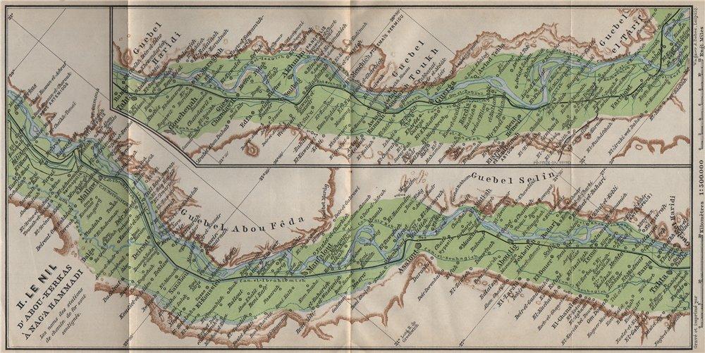 Associate Product NILE RIVER VALLEY Itlidim/Abu Qurqas-Mallawi-Asyut-Sohag-Farshut Egypt 1914 map