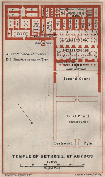 Associate Product TEMPLE OF SETHOS I at ABYDOS ground plan. Egypt. BAEDEKER 1914 old antique map