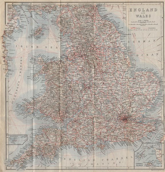 Associate Product ENGLAND & WALES Railways & Steamboat steamship routes. Great Britain 1910 map