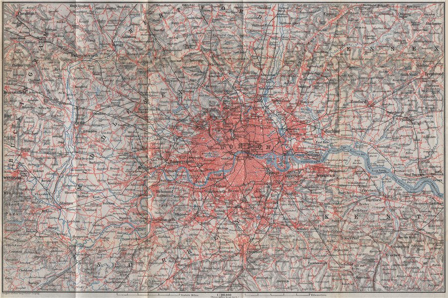Associate Product GREATER LONDON & environs. Home Counties. BAEDEKER 1910 old antique map chart