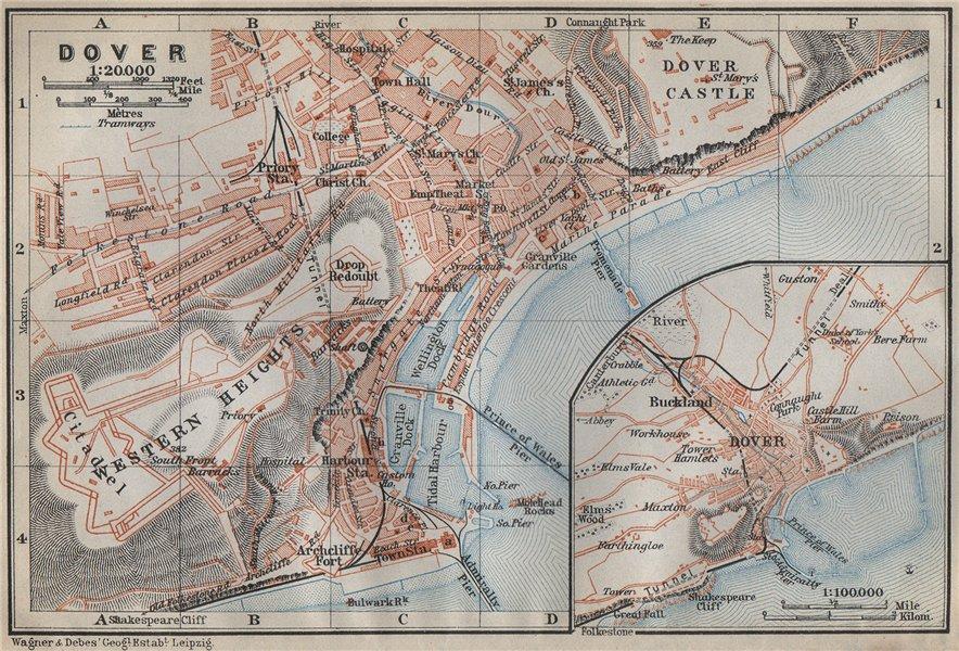Associate Product DOVER antique town city plan & environs. Kent. BAEDEKER 1910 old map