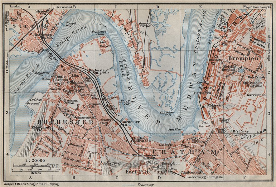 Associate Product ROCHESTER, CHATHAM & STROOD town plan. River Medway. Dockyards. Kent 1910 map