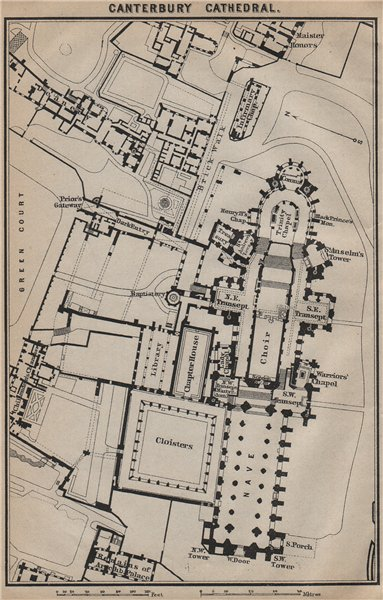 BAEDEKER 1910 old antique map chart Kent CANTERBURY CATHEDRAL ground plan