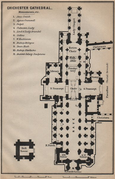 CHICHESTER CATHEDRAL floor plan. Sussex. BAEDEKER 1910 old antique map chart
