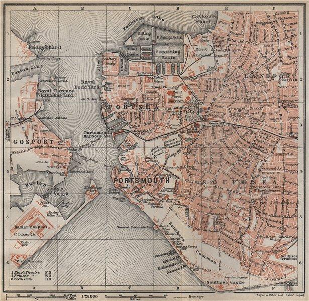 Associate Product PORTSMOUTH town city plan. Landport Southsea Gosport Portsea Hampshire 1910 map