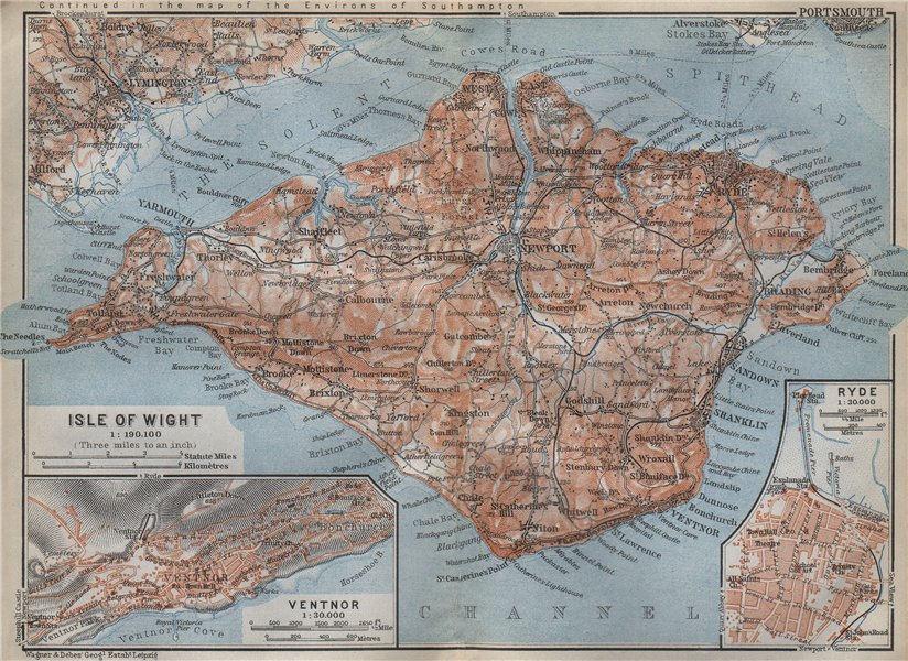 Associate Product ISLE OF WIGHT Railways. VENTNOR & RYDE antique town plans. BAEDEKER 1910 map