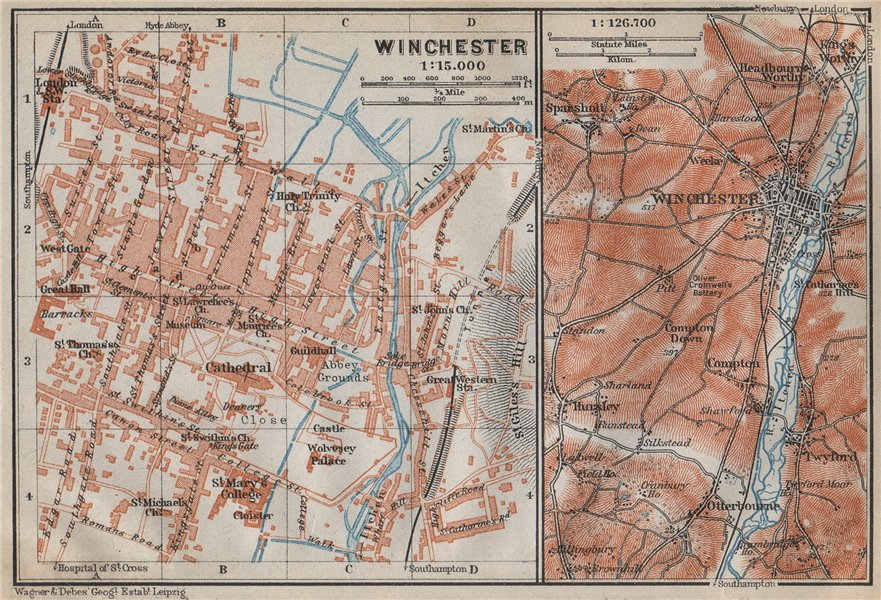 Associate Product WINCHESTER antique town city plan & environs. Itchen valley. Hampshire 1910 map
