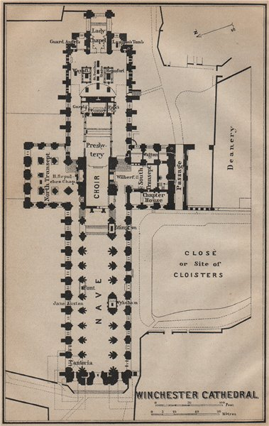WINCHESTER CATHEDRAL floor plan. Hampshire. BAEDEKER 1910 old antique map