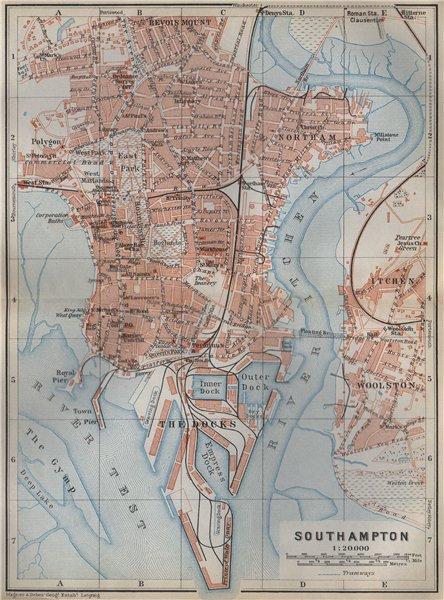 Associate Product SOUTHAMPTON town city plan. Itchen Docks Woolston Northam. Hampshire 1910 map