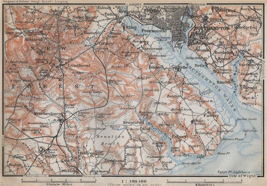 Associate Product NEW FOREST & SOUTHAMPTON WATER. Lyndhurst Beaulieu Hythe Brockenhurst 1910 map