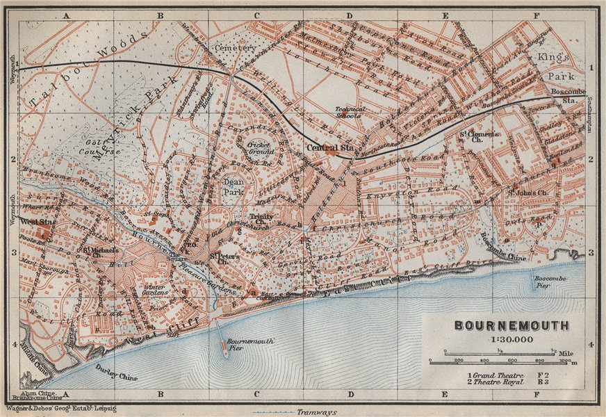 Associate Product BOURNEMOUTH antique town city plan. West Cliff. Dorset. BAEDEKER 1910 old map