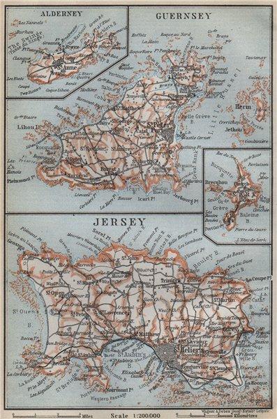 Associate Product THE CHANNEL ISLANDS. Guernsey Jersey Alderney Sark. BAEDEKER 1910 old map