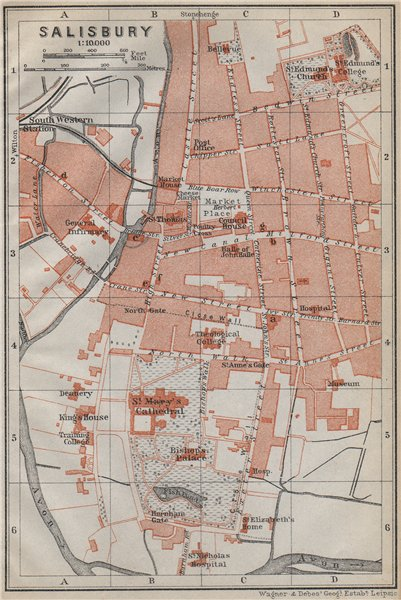Associate Product SALISBURY town city plan. St Mary's Cathedral. St Edmunds. Wiltshire 1910 map